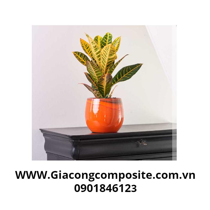 Chậu hoa composite cao cấp màu da cam