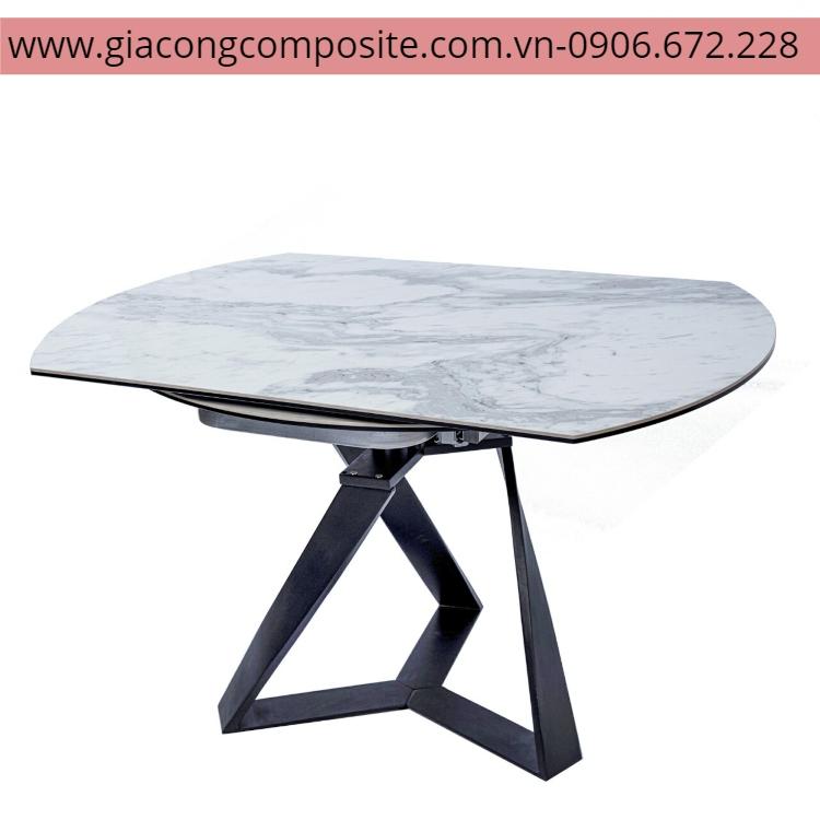 bàn khung sắt mặt kính